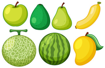Different types of fresh fruits with green skins