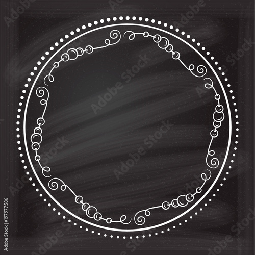 Vector Dots And Beads Frame On A Chalkboard Background