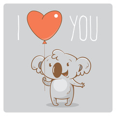 Valentine's card with cute cartoon  koala  on  gray  background. Happy animal. Funny Lover. Red balloon. Children's illustration. Vector image.