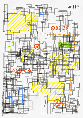 Conceptual image of architectural grid. Modern colorful hand drawn ...
