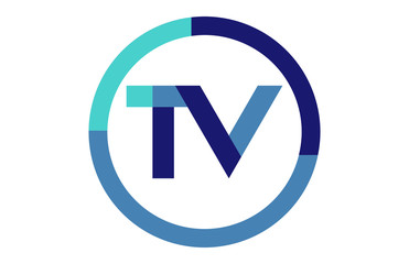 TV Global Blue Ribbon letter Logo