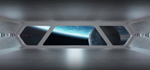 Spaceship futuristic grey blue interior with view on planet Earth