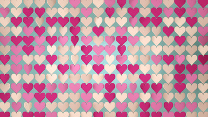 Pink hearts array abstract 3D render illustration