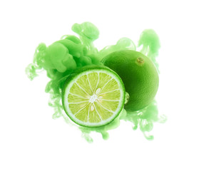 Lime on ink isolated over white background