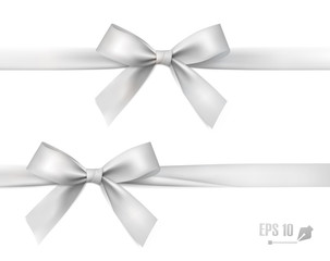 White bow with ribbon. Vector.
