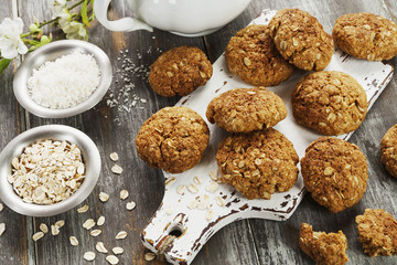 Foto auf Acrylglas Kekse Homemade oatmeal cookies