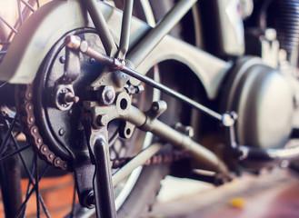 motorcycle close up wheel of motobike vintage