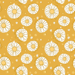 Seamless chamomile pattern on yellow background