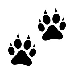 Dog, wolf or fox wild animal footprints / tracks flat vector icon for apps and websites