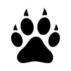 Dog, wolf or fox wild animal footprint imprint flat vector icon for apps and websites