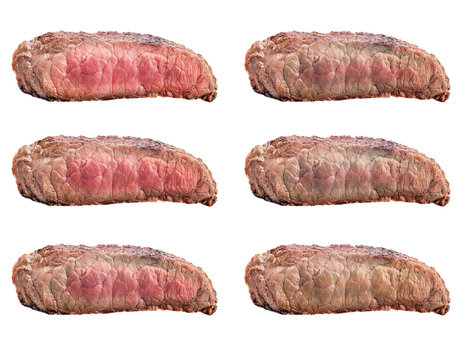 Raw beef steak, a piece of meat isolated on white background