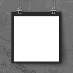 Poster binder clips mockup grunge grey wall square