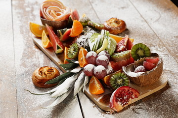 Tray with different fruits