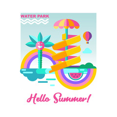 Water park. Hello summer. Vector illustration.