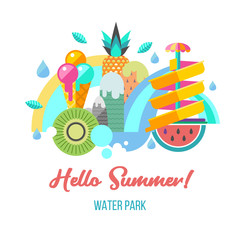 Water park. Hello summer. Vector illustration.