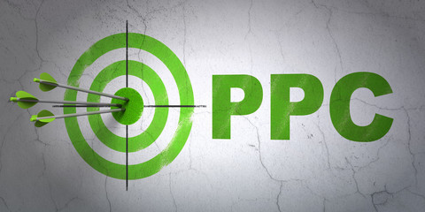 Success marketing concept: arrows hitting the center of target, Green PPC on wall background, 3D rendering