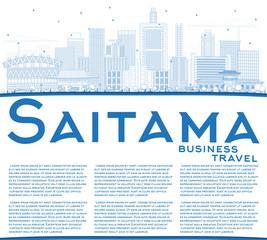 Outline Saitama Japan City Skyline with Blue Buildings and Copy Space.