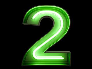 Neon green light digit alphabet character 2 two font