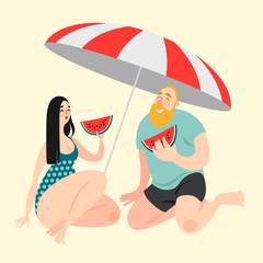 Two funny cartoon characters eating watermelon on the beach.  Vector illustration