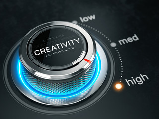 High Creativity level concept - Creativity level control button on high position. 3d rendering
