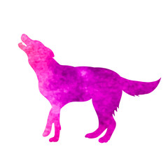 isolated, watercolor silhouette dog