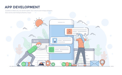 Wall Mural - Flat Line Modern Concept Illustration - App Development