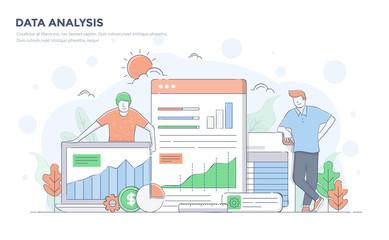 Flat Line Modern Concept Illustration - Data Analysis