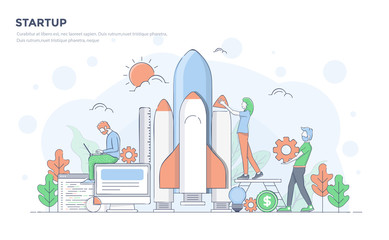 Flat Line Modern Concept Illustration - Startup