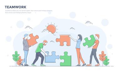 Flat Line Modern Concept Illustration - Teamwork