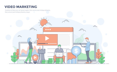 Flat Line Modern Concept Illustration - Video Marketing