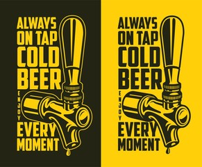 Beer tap with advertising quote