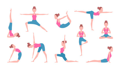 Health concept pictures of female making yoga. Fitness exercises