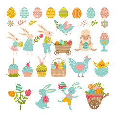 Rabbits, eggs and others symbols of easter