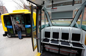 The interior of a self-driving shuttle bus, operated by the university hospital Charite and public transport company BVG, is pictured during a presentation to the media at the Charite Campus in Berlin