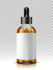 Vector illustration of glass bottle with pipe dropper isolated on transparent background