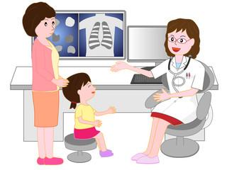 女性医師から診察を受ける子供