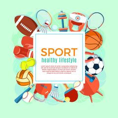 Banner of sport balls and gaming equipment. Poster with text Sport for banner, sticker, web. Healthy lifestyle tools, elements. Vector Illustration.