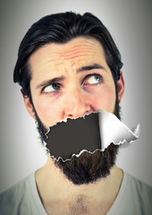 Man with torn paper on mouth
