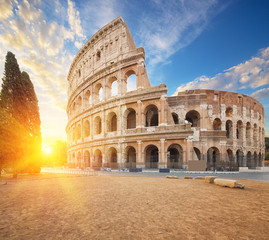 Fototapete - Coliseum or Flavian Amphitheatre (Amphitheatrum Flavium or Colosseo), Rome, Italy.