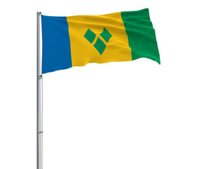 Isolate flag of Saint Vincent and the Grenadines on a flagpole fluttering in the wind on a white background, 3d rendering.
