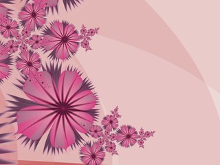 Floral original template with place for text...Fractal flower, template for inserting text...Beautiful background for creating business cards, ..and the like. In color pink...