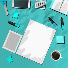 office supplies on the blue table
