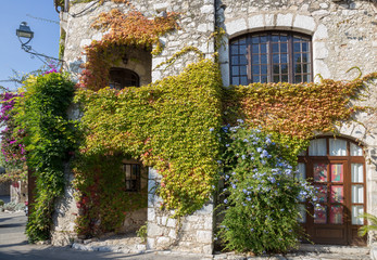 Facade with flowers of old French house