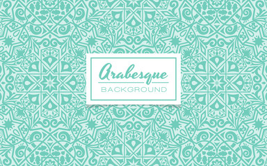 Beautiful decorative background in arabesque style. Monochromatic turquoise background with arabesque pattern design. Vector illustration.