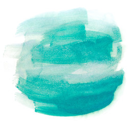 watercolor abstract color of a sea wave,sea-green ink spot on paper