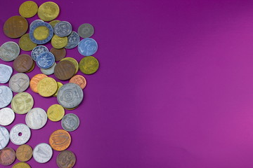worlds coins background, purple