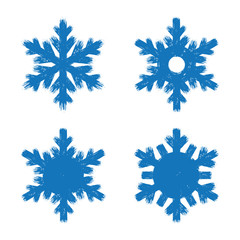 Set of blue grunge style flat brush strokes. Happy new year cold and cool snowflake symbols. Isolated on white background