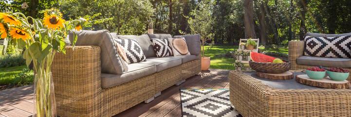 Modern terrace in a stylish garden