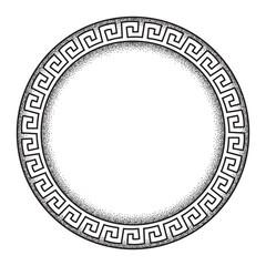 Antique greek style meander ornanent hand drawn line art and dot work round frame design vector illustration.