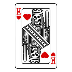 King of hearts playing card with skeleton
